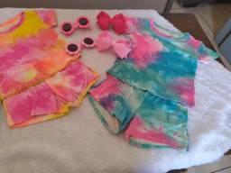 Conjuntos de menina short, blusinha e acessórios