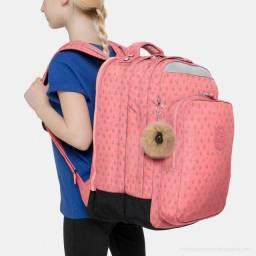 Mochila escolar rosa Kliping Original Nova