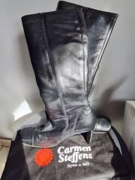Bota Carmen Steffens em couro legítimo n°38