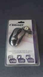 Mouse mini óptico com fio retrátil usb bright