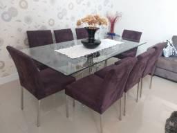 Linda Mesa de Jantar com 08 cadeiras! Cromada com vidro e estofado em Veludo!