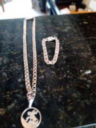 Cordão mais pulseira de prata 950 nova