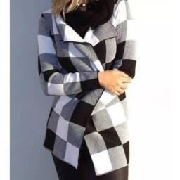 Kimono tricot quentinho xadrez Preto e branco e rosa e branco veste p ao g