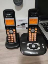 Título do anúncio: Telefone sem fio com secretaria eletrônica e extensão Panasonic