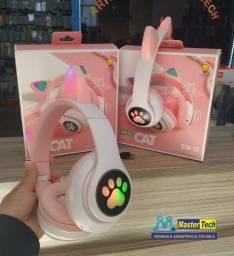 Fone De Ouvido Bluetooth Led Orelha Gato Iuz Headphone STN-28