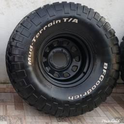 Jogo de roda offset com pneu 35 offroad