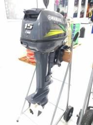 Motor de Popa Yamaha 15 hp 2 tempos 2021 Semi novo - Apenas 5 hrs de uso