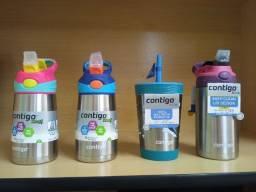 Garrafa Térmica Squeeze Infantil Contigo Autospout 295ml / 380 ml Inox Rosa/Azul