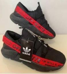 Tênis Masculino Adidas Off-White Preto e Vermelho!