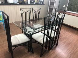 Conjunto, Mesa de Jantar Vidro Bisotado, Aparador, Mesa de Centro, Mesinha de Canto