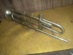 Antiga corneta cromada metal / restauraçao