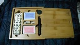 Jogos 3 em 1 dominó/dados/baralho maleta de bambú