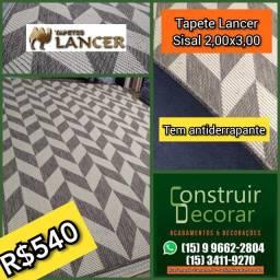 Tapete Lancer Sisal Geométrico com Antiderrapante 2,00x3,00