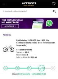 Bicicleta Aro 29 dropp Sport AÇO 21V Câmbio shimanno Freio a disco Mecânico com suspensão
