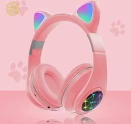 Fone de Ouvido Gatinho Bluetooth C/Luz Led