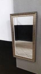 Espelho de Cristal com Moldura Provençal Prata