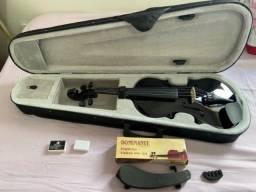 Título do anúncio: Violino preto 4/4 Sem arco Pouco usado