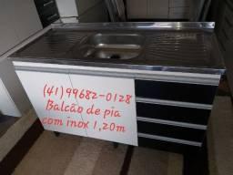 Pia e balcão de pia 1,20m com inox/NOVO