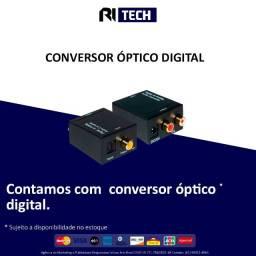 Conversor De Áudio Digital Para Rca Analógico + Cabo Óptico e RCA