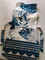 Moda Retrô - Vestido Folha com Elastano e Geométrico