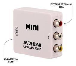Conversor Rca Entrada X Hdmi Saída Av2hdmi 1080p Vídeo Mini
