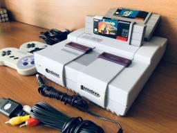 Título do anúncio: Super Nintendo 2 controles, 2 jogos originais cabo e fonte