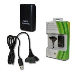 Bateria Para Controle Xbox 360 Com Cabo E Carregador Preto - frete gratis