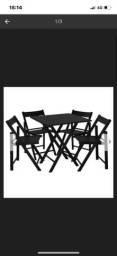Jogo de mesa e cadeiras  madeira preta