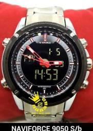 Título do anúncio: Relógio Prata Militar Naviforce 9050 aço digital lindo RESIST ÁGUA 3ATM ENTREGA GRÁTIS*