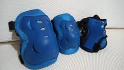 Kit de Proteção para Skate Patins Bike Patinete tamanho grande Bel Sports (Azul Claro)