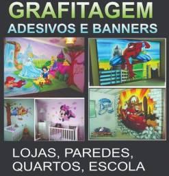 Grafitagem e adesivos em quartos , lojas e outros