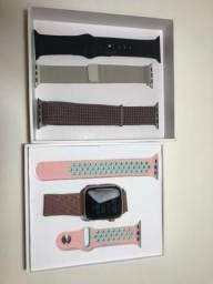 Smartwatch IWO 8 com 5 pulseiras e menos de 1 mês de uso
