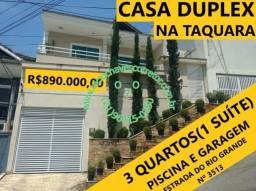 Casa Duplex de 3 Quartos(1 Suíte) e Piscina em Condomínio Fechado na Taquara