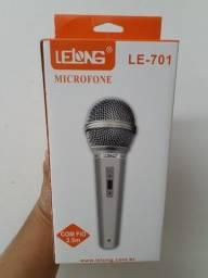 Microfone Profissional Le-701 Cabo P10 De Mão Com Fio Novo
