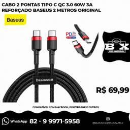Cabo 2 Pontas Tipo C Qc 3.0 60w 3a Reforçado Baseus 2 Metros