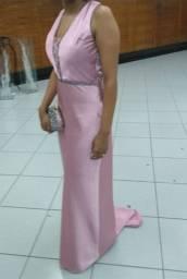 Vestido de festa rose com strass