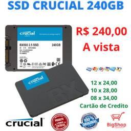 SSD Crucial BX 500, 240GB, SATA, Leitura 540MB/s, Gravação 500MB/s