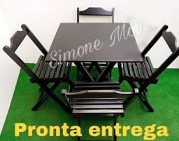 Promoção mesa dobrável 70x70cm genova e Cadeiras