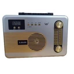 Caixa Som Rádio Retrô Vintage Mp3 Fm Am Com Bluetooth Portátil com Lanterna