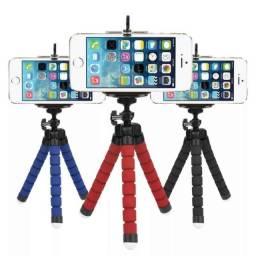 Mini suporte tripé flexível para celular.
