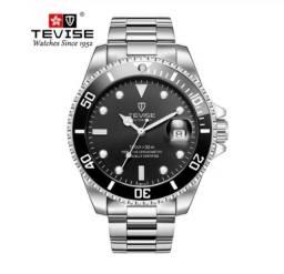 Relógio Tevise Quartzo Inox 801 Original Prata/preto