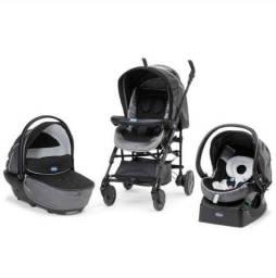 Título do anúncio: Carrinho Bebê Chicco Trio Living Smart , Moisés, Bebê Conforto, Bolsa e Cobertor