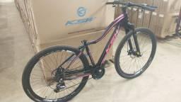 Bicicleta Ksw Mwza preto com rosa Tam 17 24v freio a disco