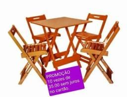 Mesa dobrável c cadeira novo ### entrego