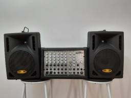 Título do anúncio: Mixer (cabeçote) amplificado + 2 caixas Donner