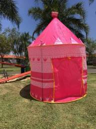 Barraca Infantil Dobrável Tenda Castelo Das Princesas Cabana tem azul rosa