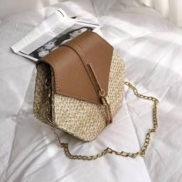 Bolsa de Palha Feminina Hexagonal De Alça Importada