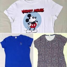 Camisetas femininas G e GG usadas uma vez