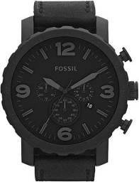 Relógio *ORIGINAL* Fóssil Preto Couro  Masculino JR1354