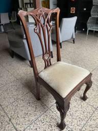 4 unidades cadeira madeira maciça entalhada clássica